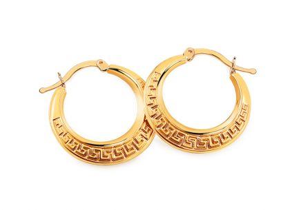 Zlaté náušnice s antickým vzorom krúžky ... e3901178706