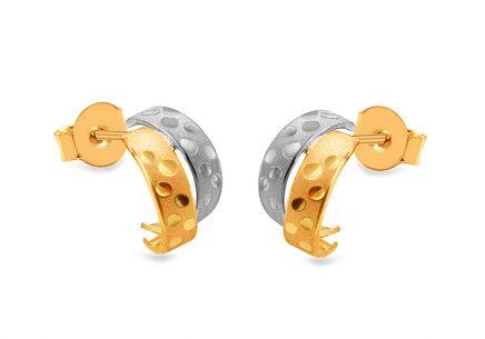 Zlaté kombinované náušnice s gravírom Senona 2 ... 87e24a2507b