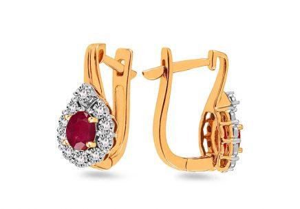 285b19cca Zlaté rubínové náušnice s diamantmi 0.060 ct ...