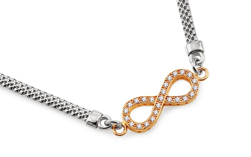 3eca97502 Pozlátený strieborný náhrdelník nekonečno so zirkónmi, pre ženy ...