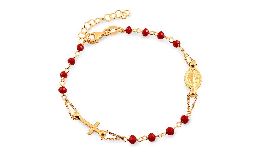 51886232b Pozlátený strieborný náramok s červenými kameňmi Ruženec, pre ženy ...