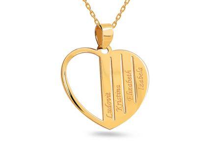03463fc67 Zlatý prívesok Srdce s menami podľa želania ...