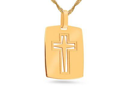 91ad3088f Zlatá platnička vyrezávaný gravírovaný krížik ...
