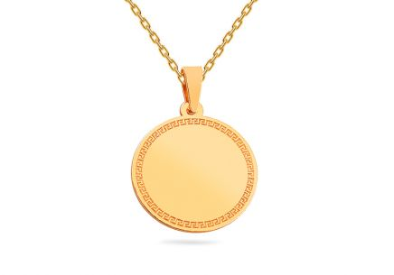 612bf2788 Zlatý prívesok platnička s antickým vzorom ...