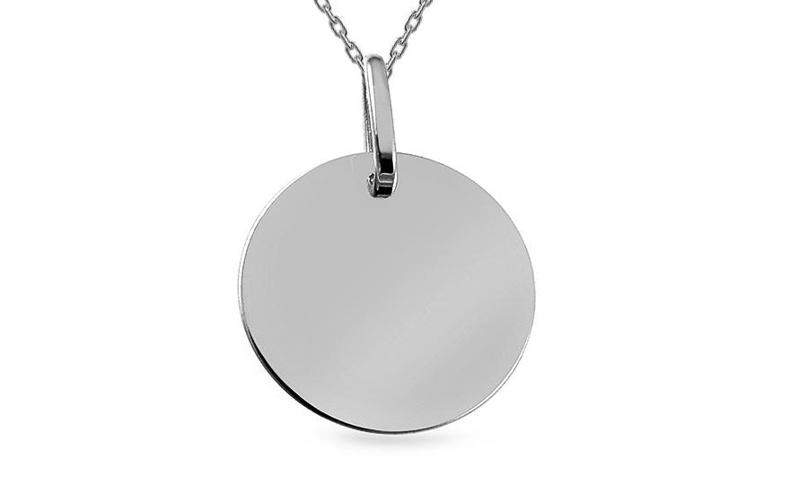 b140146a1 Prívesok na gravírovanie okrúhla platnička z bieleho zlata, pre ženy ...