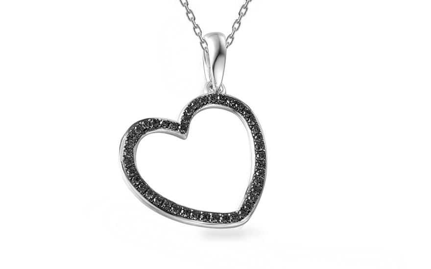e2cf4f324 Prívesok z bieleho zlata s čiernymi diamantmi 0.120 ct srdiečko - IZBR018ABB