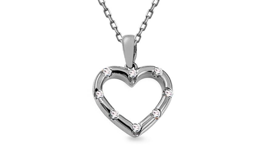 b07a6f639 Prívesok z bieleho zlata s diamantmi 0.060 ct srdiečko, pre ženy ...