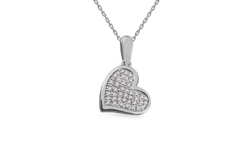a4e959ab6 Prívesok z bieleho zlata s diamantmi 0.100 ct Srdiečko, pre ženy ...