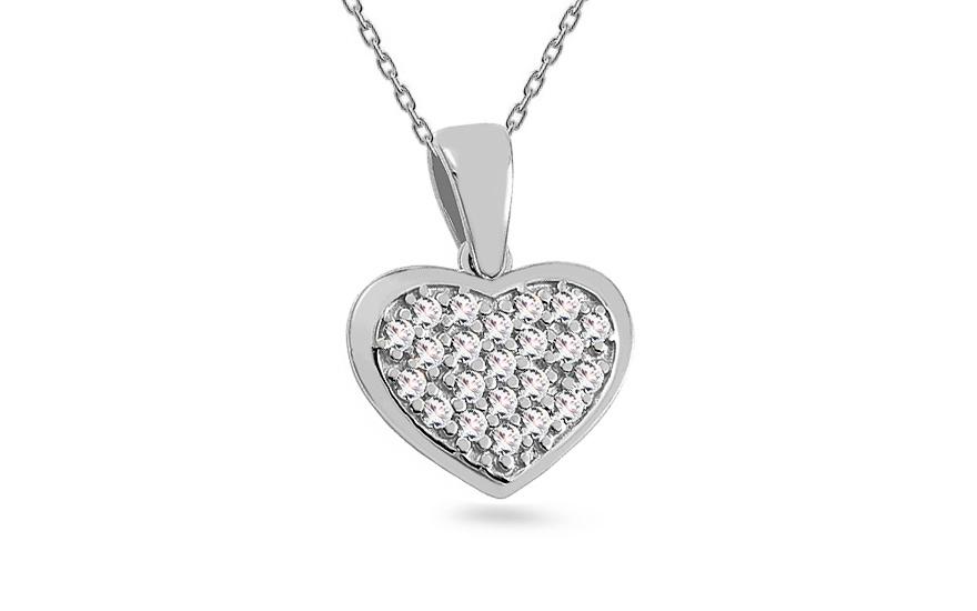 312ed75d5 Prívesok z bieleho zlata so zirkónmi Srdce, pre ženy (IZ15981A ...