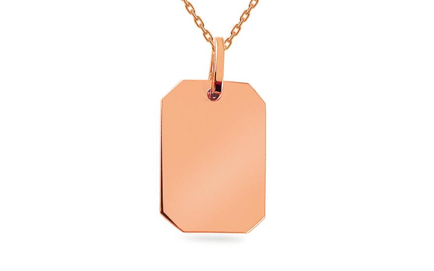 4f4adce1f Prívesok z ružového zlata platnička na gravírovanie, pre ženy ...