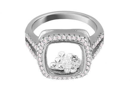 18e8f6d6b Dizajnový strieborný prsteň s pohybujúcimi sa zirkónmi Dizajnový strieborný  prsteň s pohybujúcimi sa zirkónmi