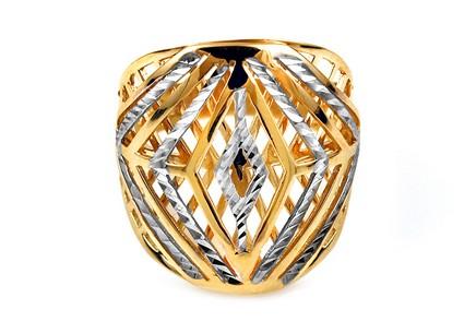 0871ecc5e Celozlatý dvojfarebný prsteň s gravírovaním ...