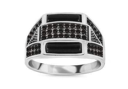 Strieborný pánsky prsteň s čiernymi kamienkami ... ba88c4f0045