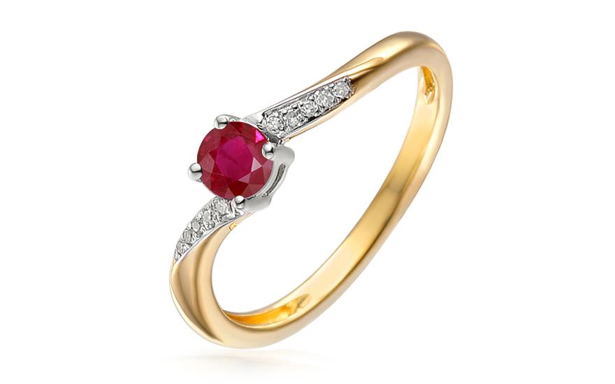 Rubínový zásnubný prsteň s diamantmi 0.030 ct c806fdbc737