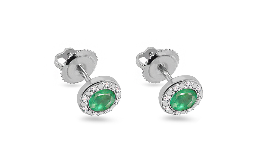 21ad8214225 Smaragdové náušnice s briliantmi 0,060 ct Talea 4, pre ženy (KU123N ...