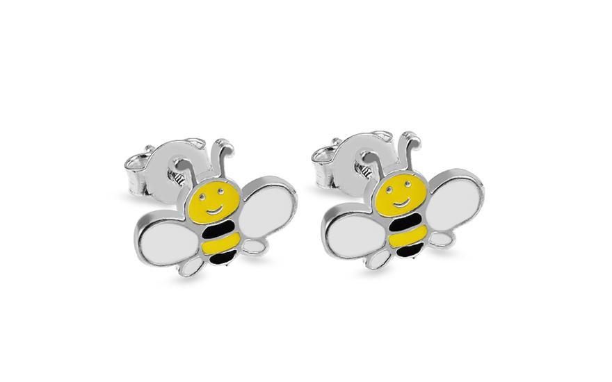 3eea0c7c5 Strieborné napichovacie dievčenské náušnice Včielky, pre deti ...