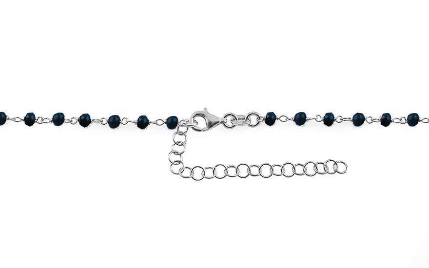 Strieborný náhrdelník Choker so srdiečkami a metalicky modrými kameňmi 3675343d08a