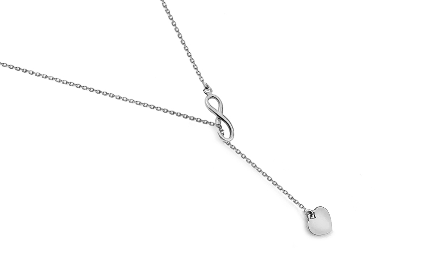 10a7bb4b7 Strieborný náhrdelník Nekonečno so srdiečkom, pre ženy (IS2705 ...