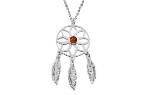 Strieborný náhrdelník s jantárom Lapač snov a87e818356f
