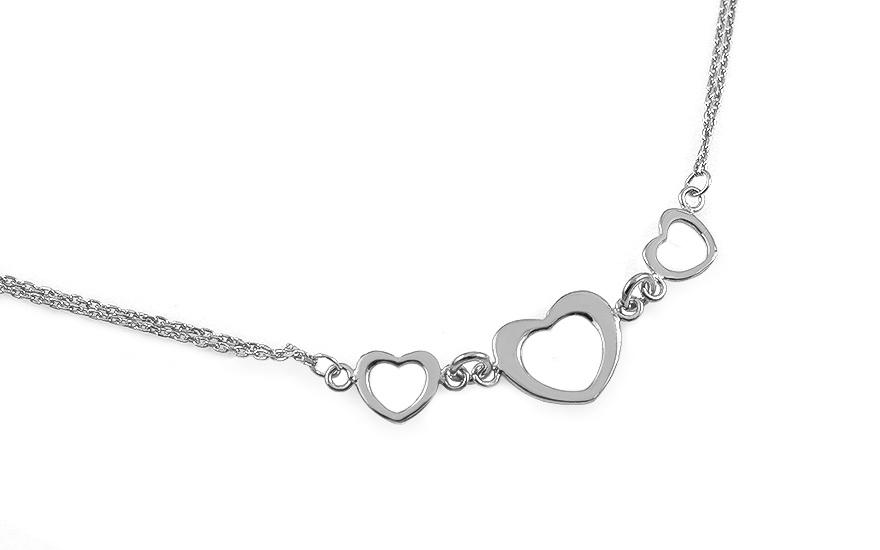 Strieborný náhrdelník Srdcia s dvojitou retiazkou cbe91272df1