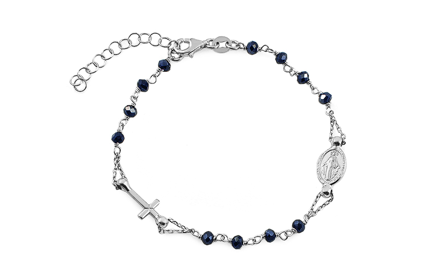 8dbca2e9f Strieborný náramok s metalicky modrými kameňmi Ruženec, pre ženy ...