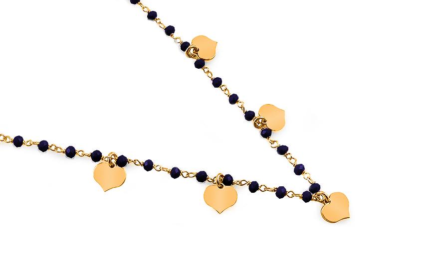 Strieborný pozlátený náhrdelník Choker so srdiečkami a modrými kameňmi 440eea6b3e7