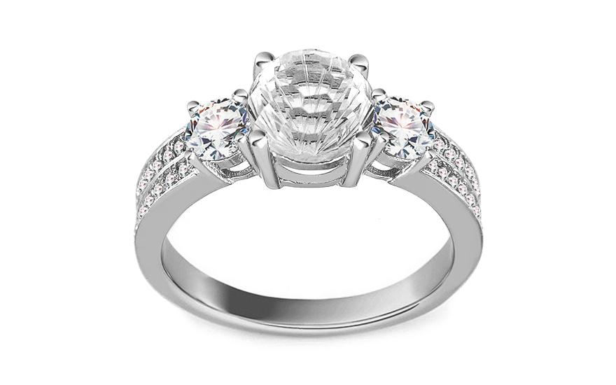 Strieborný zásnubný prsteň so zirkónmi 257e06c9c43