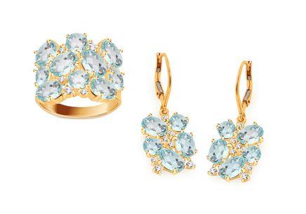 b7a238c32 Zlatá súprava náušnice s prsteňom | iZlato.sk