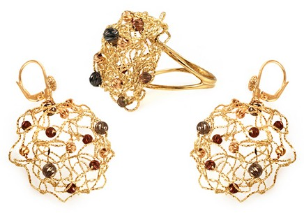 Zlatá súprava náušnice s prsteňom  fc24c02f604