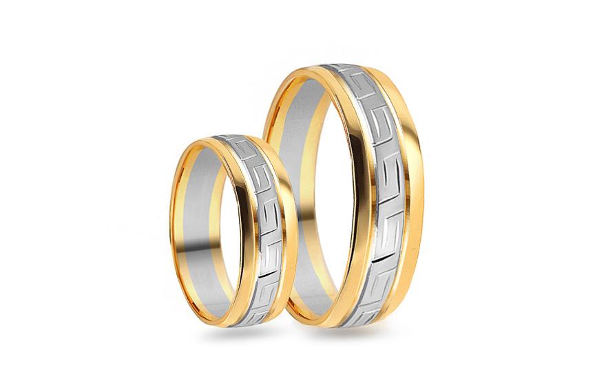 Svadobné obrúčky zaoblené kombinované so vzorom šírka 5 mm (CSOB105 ... 320bd53310d