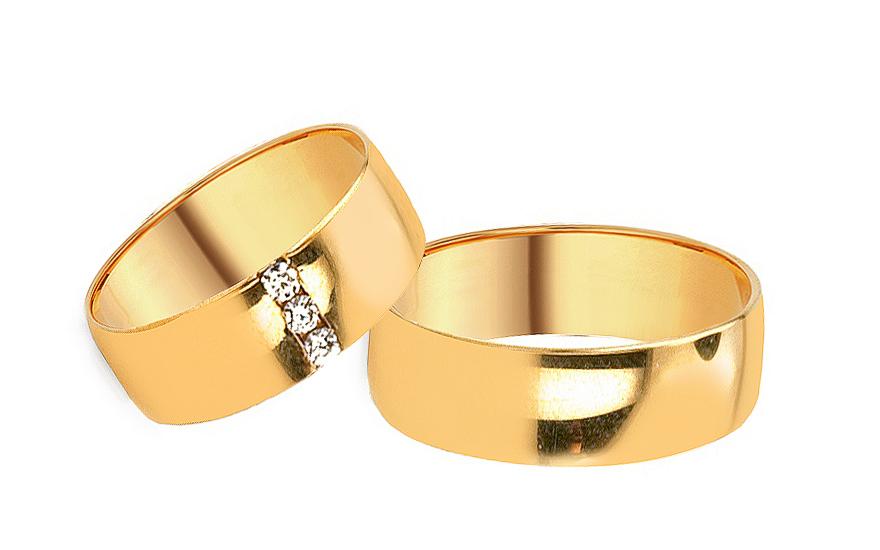 Svadobné obrúčky zo žltého zlata so zirkónmi (RYOB080)  de5db5ff37a