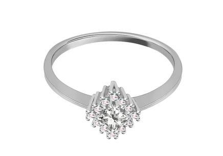 aa76f843c ... Zásnubný prsteň z bieleho zlata so zirkónmi Diane 4