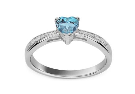 177b6fffe Zásnubný prsteň s topásovým srdcom a diamantmi Lailie white ...