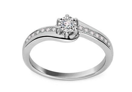 Zásnubný prsteň z bieleho zlata s diamantmi 0.100 ct Ameline ... 2ade2433c9e