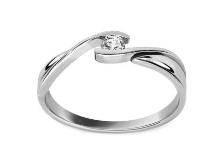 Zásnubný prsteň s diamantom 0.060 ct Love white