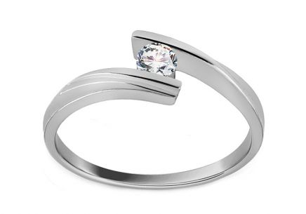 Zásnubný prsteň s diamantom Combination of love 0,110 ct white