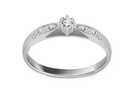 5571e7f4ee9 Zásnubný prsteň z bieleho zlata s diamantmi 0.070 ct Odelia