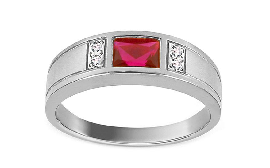 Zásnubný prsteň s červeným kameňom Isarel white 932e8438c43