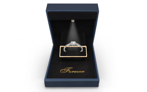 Zásnubný prsteň s diamantom 0,090 ct Power of love 9 - LRBR029 - v krabičke