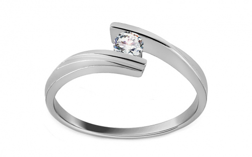 Zásnubný prsteň s diamantom Combination of love 0,110 ct white - CSBR19A