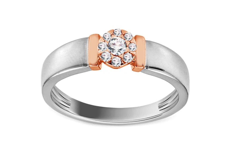Zásnubný prsteň z bieleho a ružového zlata s diamantmi 0.130 ct Chantel d4963a76fd8