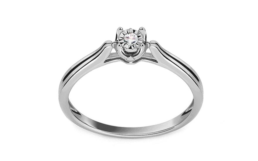 Zásnubný prsteň z bieleho zlata s diamantom 0.050 ct Devera 58c9c2438a3
