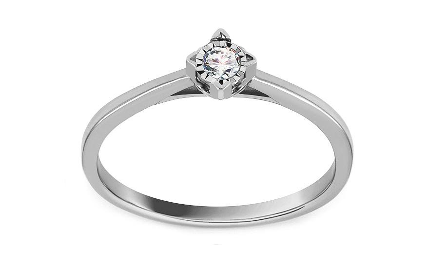 Zásnubný prsteň z bieleho zlata s diamantom 0.070 ct Jumelle f404bc2b698