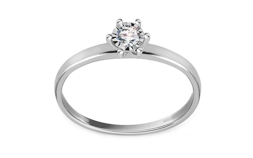 d5d8b4b5d Zásnubný prsteň z bieleho zlata s diamantom 0.080 ct, pre ženy ...