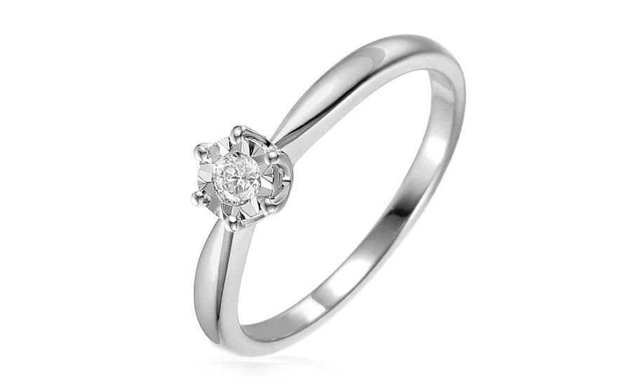 1ab077e7e Zásnubný prsteň z bieleho zlata s diamantom 0.090 ct, pre ženy ...