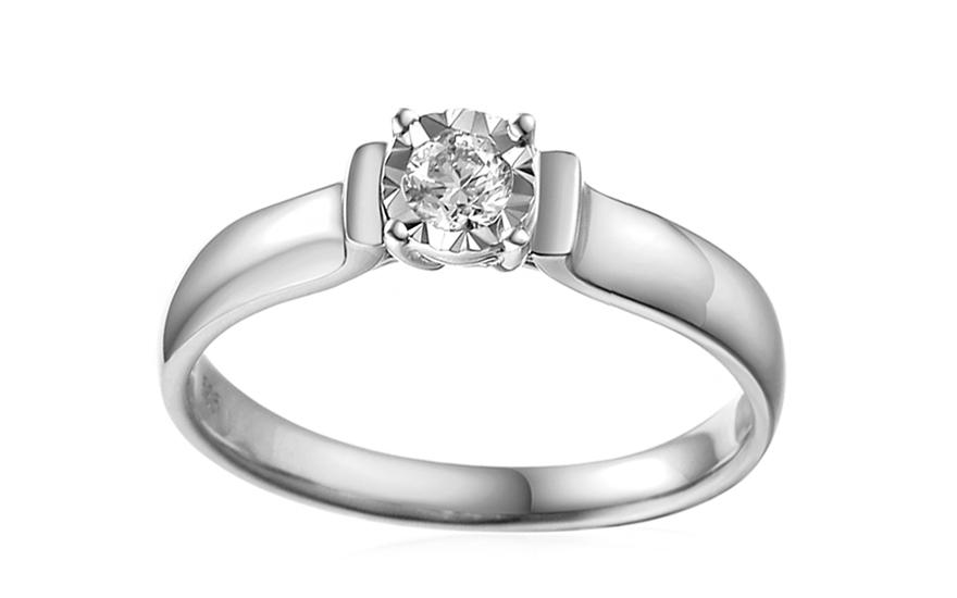 d8fc197f9 Zásnubný prsteň z bieleho zlata s diamantom Louise 2, pre ženy ...