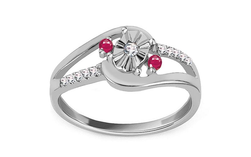 dedb9e4f6 Zásnubný prsteň z bieleho zlata s rubínmi a diamantmi 0.070 ct Sanai -  KU490A