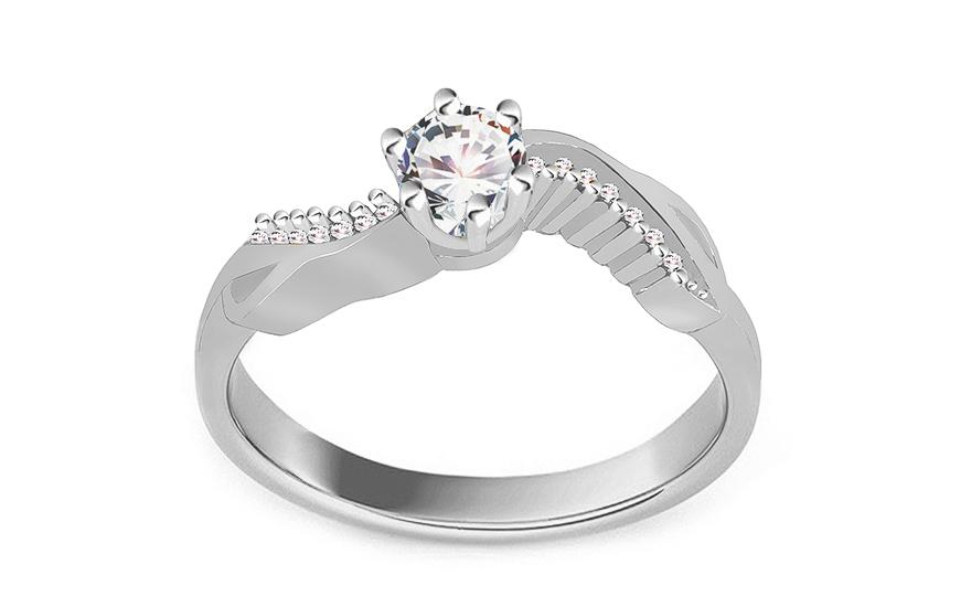 Zásnubný prsteň z bieleho zlata so zirkónmi Isarel 14 f1194eee696