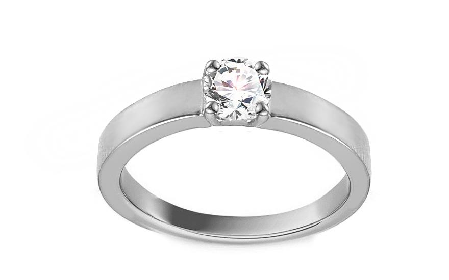 Zásnubný prsteň z bieleho zlata so zirkónom Adaliz 25c869302d9