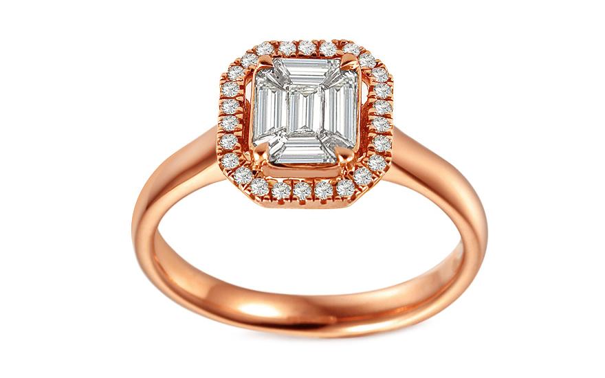 2c183ed66 Zásnubný prsteň z ružového zlata s baguette diamantmi 0.510 ct - IZBR690R